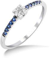 Majestine 9 Karaat Ring Witgoudkleurig (375) met Diamant 0.05ct en Saffier maat 58