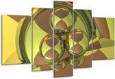 Glasschilderij Abstract | Groen, Grijs | 170x100cm 5Luik | Foto print op Glas |  F004076