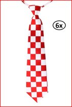 6x Stropdas brabant rood/wit geblokt