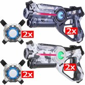 Lasergame set: 4 Light Battle Active camo laserpistool + 4 Vesten - camo wit en camo grijs