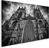 Zwart wit vooraanzicht van de Kathedraal York Minster Plexiglas 90x60 cm - Foto print op Glas (Plexiglas wanddecoratie)