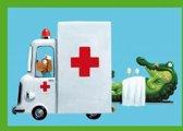 Wenskaart voor kinderen Ziekenwagen hond
