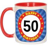 50 jaar mok / beker - 300 ml - keramiek - verjaardag koffiebeker