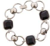 Armband - Zilverkleurig - Metaal - 3 steentjes - 18cm