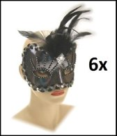 6x Oogmasker roma zilver luxe
