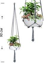 Love Earth Macrame Plantenhanger - 90 cm - Grijs