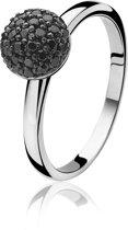 Zinzi - Zilveren Ring - Halve Bol - Zwart - Maat 54 ZIR915Z54