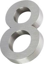 3D huisnummer van RVS | Hoogte 20cm | Gratis verzending en 5 jaar garantie | Nummer 8