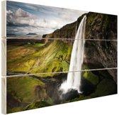 Seljalandsfoss waterval Hout 120x80 cm - Foto print op Hout (Wanddecoratie)