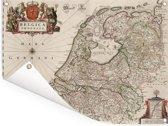 Oude landskaart van Nederland en België Tuinposter 160x120 cm - Tuindoek / Buitencanvas / Schilderijen voor buiten (tuin decoratie) XXL / Groot formaat!