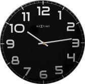 NeXtime Classy Large - Klok - Stil Uurwerk - Groot - Rond - Glas - Ø50 cm - Zwart/ Zilver