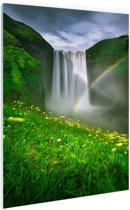 Regenboog voor de waterval Glas 40x60 cm - Foto print op Glas (Plexiglas wanddecoratie)
