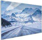 Besneeuwde bergen Glas 90x60 cm - Foto print op Glas (Plexiglas wanddecoratie)
