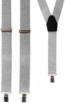 Brede lurex zilveren bretels