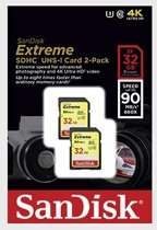 SanDisk SDHC Extreme 32GB 90MB/s U3 doublepack