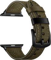 Bandje leer groen met zwarte stiksels geschikt voor Apple Watch 42mm en 44mm (alle generaties)