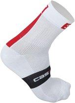 Castelli 3T Team - Fietssokken - Middellang - Maat L/XL (40-43) - Wit/Rood