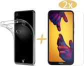 Huawei P20 Lite Hoesje Transparant TPU Siliconen Soft Gel Case + 2x Tempered Glass Screenprotector - van iCall