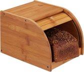 relaxdays broodtrommel bamboe - brooddoos hout - met schuifdeksel - broodkast - broodbox