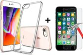 Extra Stevige Back Cover voor Apple iPhone 7 | iPhone 8 | Transparant Ultra Dunne Siliconen Case | Hoogwaardig TPU Hoesje + Tempered Glass Glazen Screenprotector