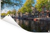 De Prinsengracht in het centrum van Amsterdam Tuinposter 90x60 cm - Tuindoek / Buitencanvas / Schilderijen voor buiten (tuin decoratie)