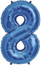 Folie Ballon Cijfer 8 Blauw 100cm - leeg
