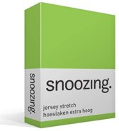 Snoozing Jersey Stretch - Hoeslaken - Extra Hoog - Tweepersoons - 120/130x200/220 cm - Lime