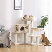Luxe Katten Krappaal Met Hangmat & XXL Uitzicht Plateau - Activity Center - Grote Krappaal Klimpaal - 112 CM Hoog - Beige