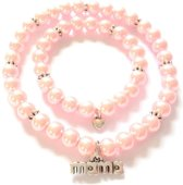 Jewellicious Designs Pink Pearls Silver Mama & Baby Girl armbandenset