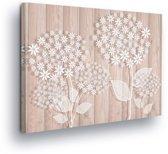 Floral White Canvas Print 80cm x 60cm