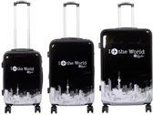 3 delig polycarbonaat kofferset - Fly The World Black - DUBBEL WIEL