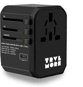 TravelMore Universele Wereldstekker met USB-C en 4 USB Poorten - 2000 Watt Internationale Reisstekker voor 150+ landen - Amerika (USA) - Engeland (UK) - Australië - Azië - Zuid Amerika - Afrika – Reis Adapter met Omvormer - Oplader – Zwart