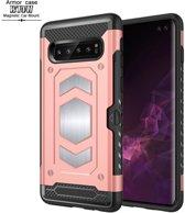Ntech Samsung Galaxy S10 Plus Luxe Armor Case met Pashouder - Rose Goud