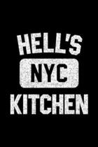 Hell's NYC Kitchen: Hell's Kitchen Gym Style NYC Distressed White Print Journal/Notebook Blank Lined Ruled 6x9 100 Pages