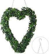relaxdays krans - decoratie - deur krans - kerstkrans - hart - binnen en buiten - buxus