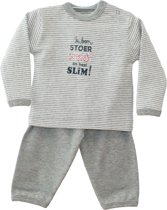 ISI Mini - Set 62/68 Broekje + Shirt(Grey streep) Tekst: Ik ben stoer, stout en heel slim