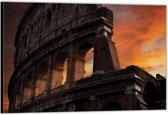 Dibond –Colosseum met Zonsondergang– 120x80 Foto op Aluminium (Wanddecoratie van metaal)