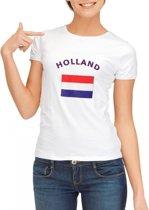 Wit dames t-shirt met vlag van Holland L