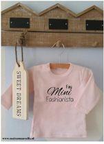 Shirtje Mini Fashionista met naam | Lange of korte mouw | lichtroze| maat 56-110