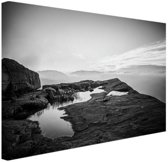 Natuurfoto zwart-wit Canvas 80x60 cm - Foto print op Canvas schilderij (Wanddecoratie woonkamer / slaapkamer)