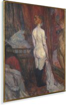 Woman before a mirror - Schilderij van Henri de Toulouse-Lautrec Plexiglas 120x160 cm - Foto print op Glas (Plexiglas wanddecoratie) XXL / Groot formaat!