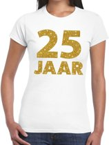 25 jaar goud glitter verjaardag t-shirt wit dames - verjaardag / jubileum shirts XL