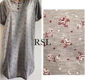 Dames nachthemd korte mouw grijs/rood XL