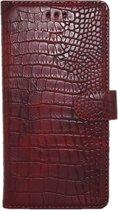 Xssive Hoesje Voor Samsung Galaxy S5/S5 Neo - Book Case - Croco Print - Bordeaux Rood