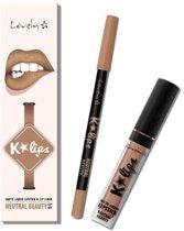 Lovely K-Lips Matte Liquid Lipstick & Lip liner Neutral Beauty