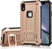 Let op type!! Schokbestendige PC + TPU Armor beschermende case voor iPhone XR  met houder (Rose goud)