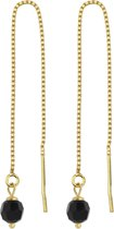 ARLIZI 1064 Doortrekoorbellen Swarovski Kristal - Dames - 925 Zilver Verguld - 6 cm - Zwart