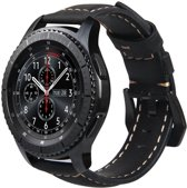Leren Bandje Voor de Samsung Gear S3 / Galaxy watch 46mm SM-R800 - Leren Armband / Polsband / Strap Band / Zwart | Watchbands-shop.nl