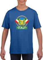 Blauw Italiaans kampioen t-shirt kinderen - Italie supporter shirt jongens en meisjes XS (110-116)