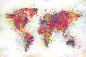 Wereld kaart kleurrijk splash poster 61x91.5cm.